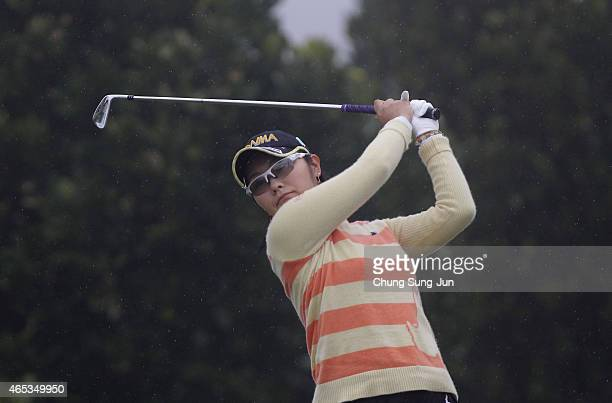 Saiki Fujita of Japan plays a tee shot during the first round of the Daikin Orchid Ladies Golf Tournament at the Ryukyu Golf Club on March 6 2015 in...