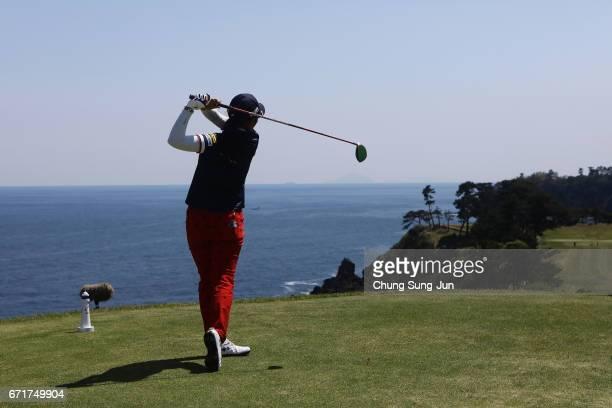 Saiki Fujita of Japan plays a tee shot on the 16th hole during the final round of Fujisankei Ladies Classic at the Kawana Hotel Golf Course Fuji...