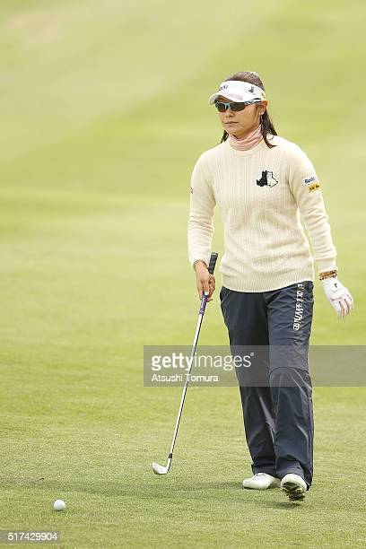 Saiki Fujita of Japan prepares to hit her second shot on the 11th hole during the first round of the AXA Ladies Golf Tournament at the UMK Country...