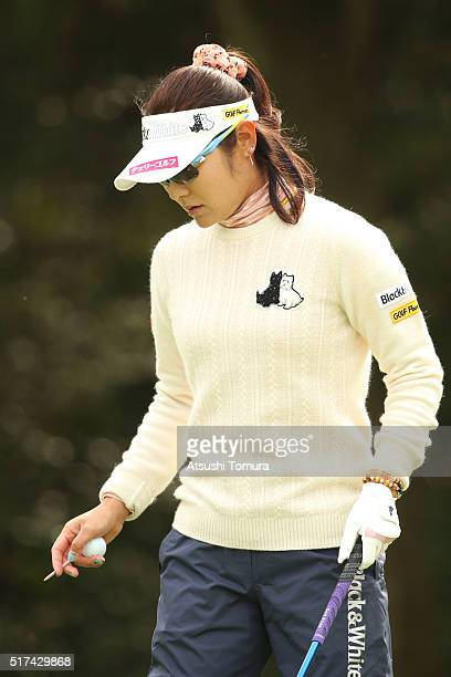 Saiki Fujita of Japan prepares to hit her tee shot on the 11th hole during the first round of the AXA Ladies Golf Tournament at the UMK Country Club...