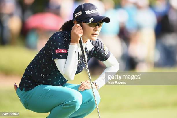 Saiki Fujita of Japan prepares to putt on the 9th hole during the final round of the 50th green Championship Konica Minolta Cup 2017 at the Appi...