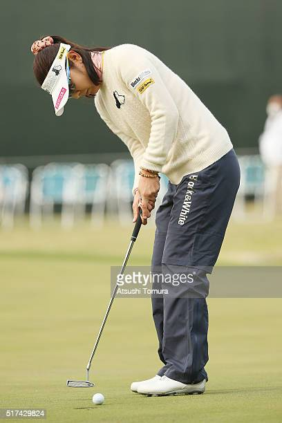 Saiki Fujita of Japan putts on the 18th hole during the first round of the AXA Ladies Golf Tournament at the UMK Country Club on March 25 2016 in...
