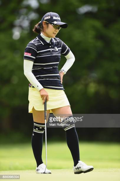 Saiki Fujita of Japan reacts after her putt on the 11th hole during the second round of the CAT Ladies Golf Tournament HAKONE JAPAN 2017 at the...