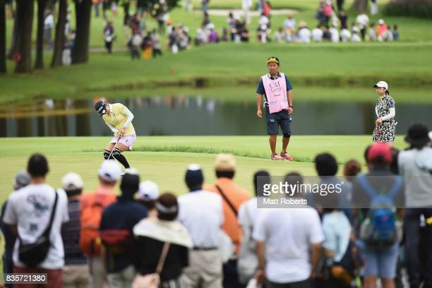 Saiki Fujita of Japan reacts after her putt on the 3rd green during the final round of the CAT Ladies Golf Tournament HAKONE JAPAN 2017 at the...