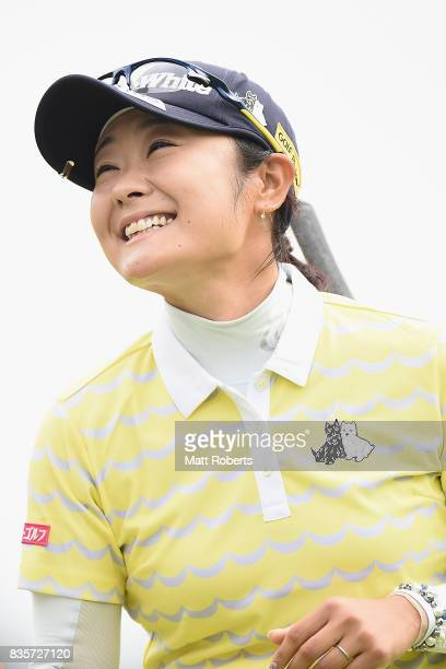 Saiki Fujita of Japan smiles after her putt on the 18th green during the final round of the CAT Ladies Golf Tournament HAKONE JAPAN 2017 at the...