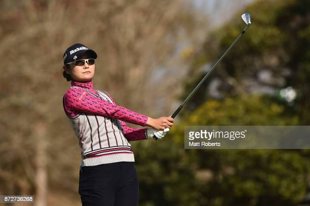 Saiki Fujita of Japan watches her tee shot on the 7th hole during the second round of the Itoen Ladies Golf Tournament 2017 at the Great Island Club...