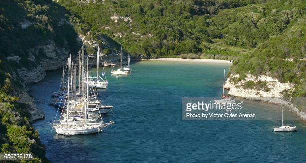 Sail boats moored at l'Arenella cove (Calanque de l'Arenella) in the town Bonifacio, Corsica, France