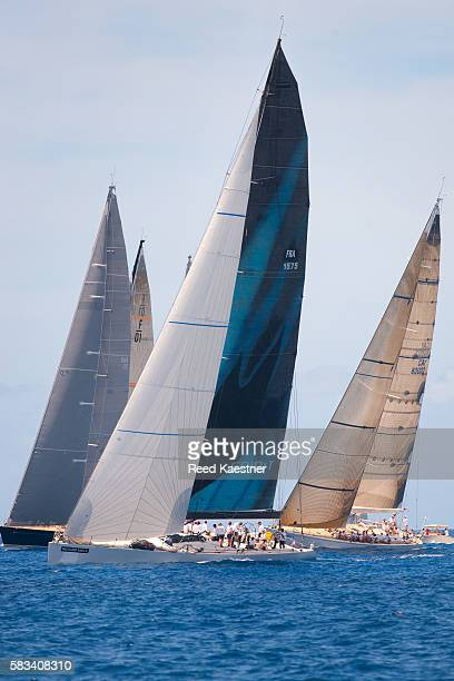 Sail boats race off the island off Saint Barthélemy in the Leeward Islands