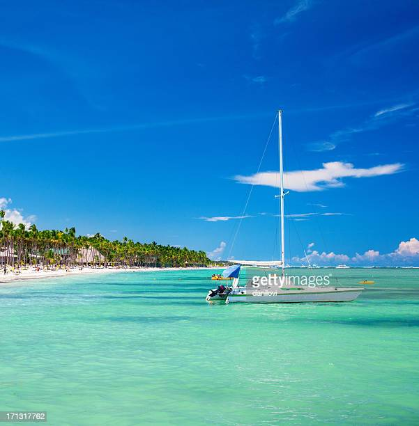 Sailboat and caribbean beach