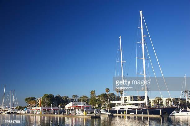 Sailboat and marina