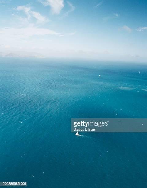 Sailboat at sea, aerial view