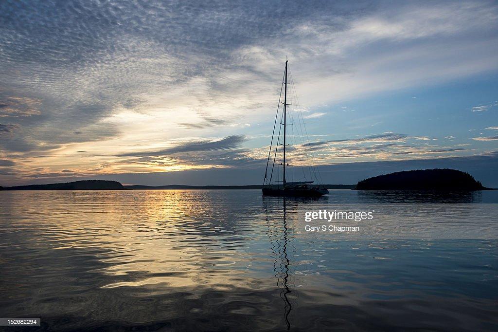 Sailboat at sunset Bar Harbor, Maine : Stock Photo