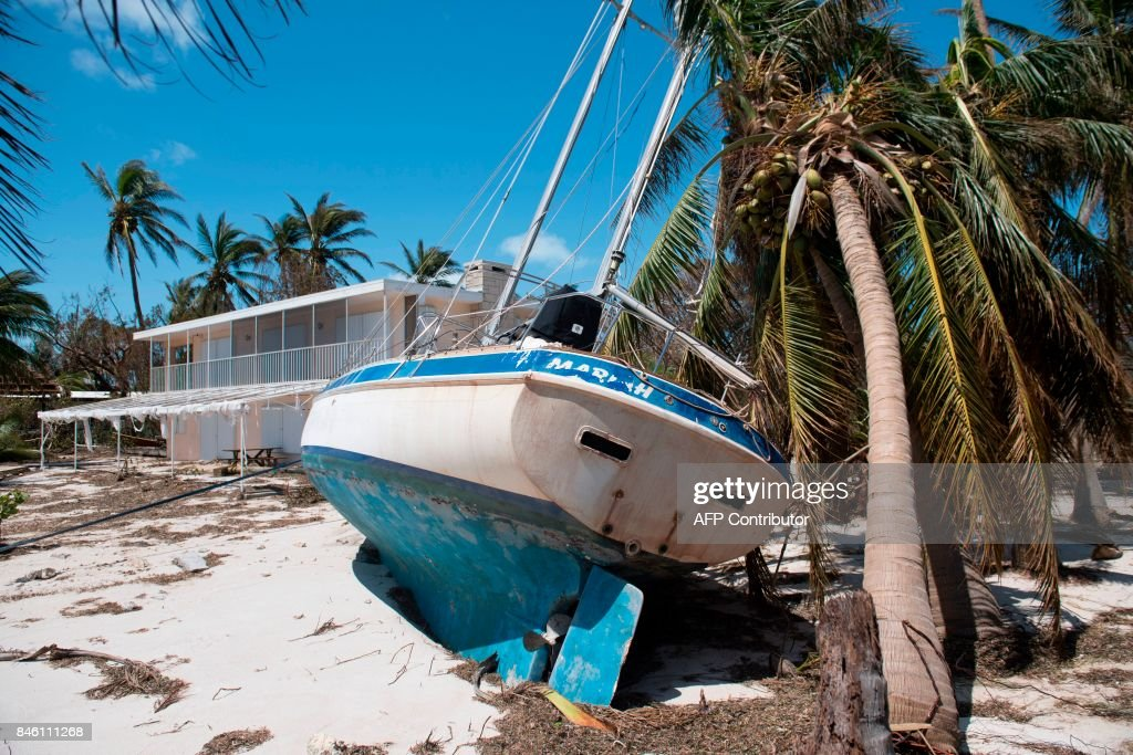 A sailboat brought ashore by Hurricane Irma is seen in Islamorada, in the Florida Keys, September 12, 2017. /