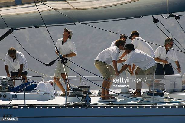 Sailboat Crew During Yacht Race