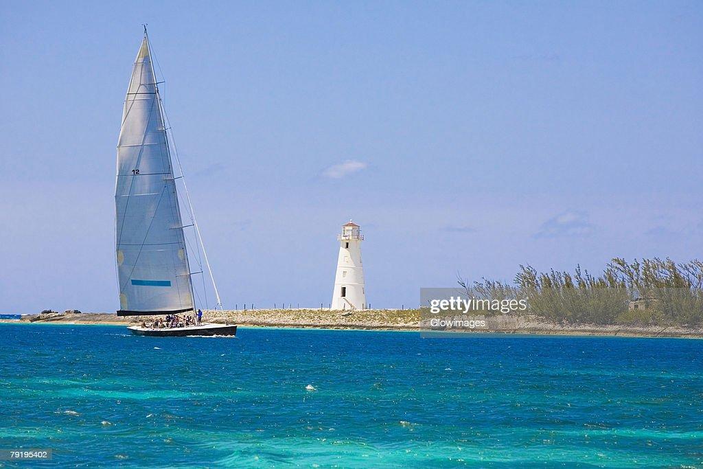Sailboat in the sea, Paradise Beach, Bahamas : Stock Photo