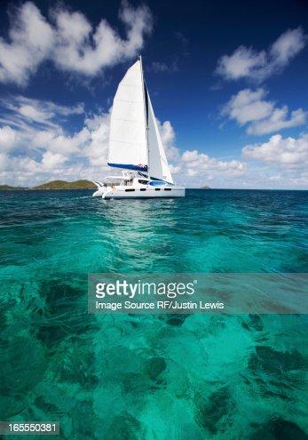 Sailboat in tropical water