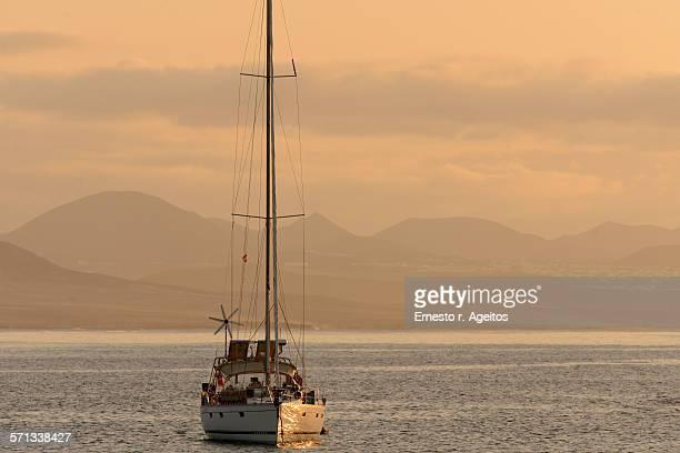 Sailboat near the coast of Lanzarote island