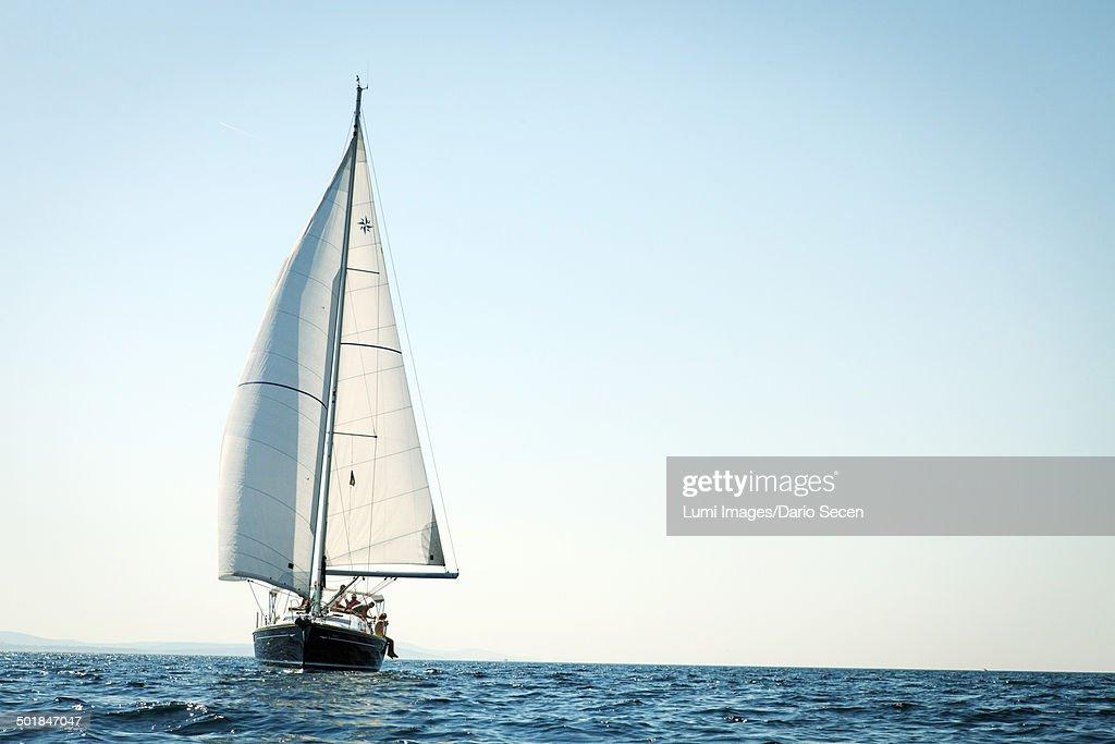 Sailboat on the move, Adriatic Sea, Croatia