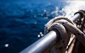 Sailboat rope, yacht close-up. Yachting