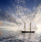 Sailboat Sun and sky