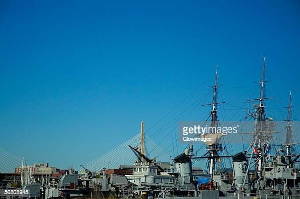Sailboats at harbor, USS Cassin Young, Boston Harbor, Boston, Massachusetts, USA