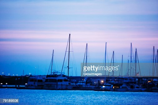 Sailboats docked at a harbor, Charleston, South Carolina, USA : Stock Photo