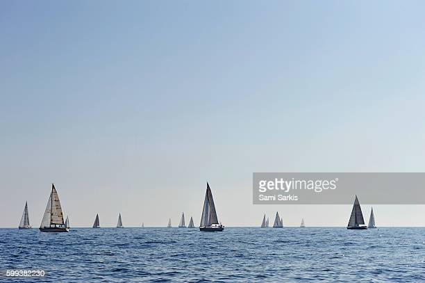 Sailboats during a regatta in the Mediterranean Sea off the coast of Marseille, South of France, Europe