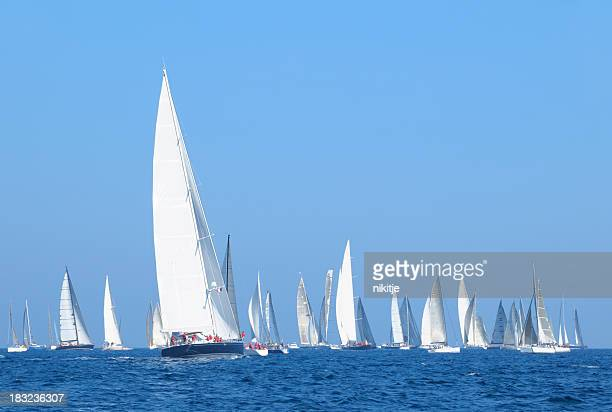 Sailboats during a regatta on the French Riviera
