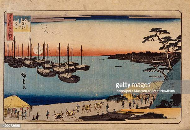 Sailboats in harbor by Japanese artist Utagawa Hiroshige date unknown Gift in memory of Charles C Kryter