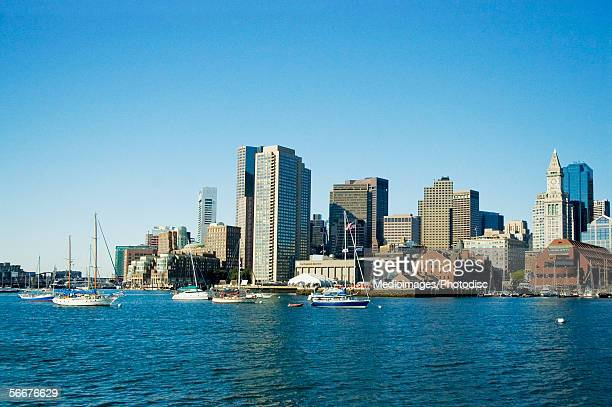 Sailboats in the river, Boston Harbor, Boston, Massachusetts, USA