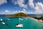 Sailboats in tropical water