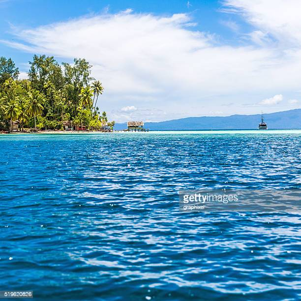 Sailboats in Turquoise Ocean Near Island