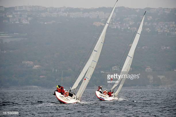 Segelboote Schiefer während der regatta