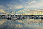 Sailboats moored at Sandy Bay, Hobart
