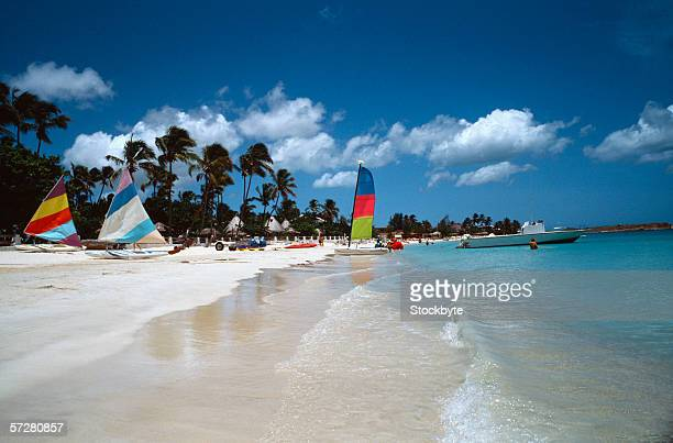 Sailboats on the beach in Antigua