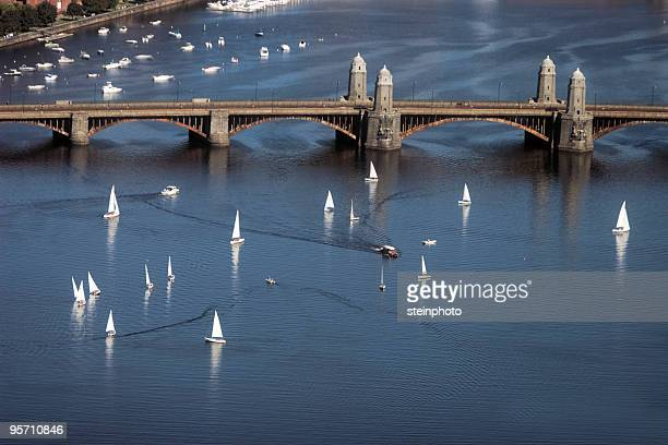 Sailboats on the Charles River and Longfellow Bridge