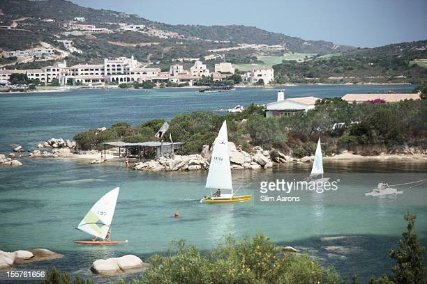 Sailboats on the waters of the Costa Smeralda in Sardinia Italy in September 1978