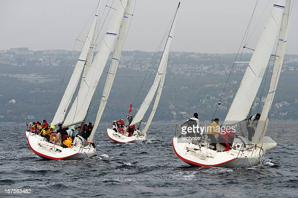 Sailboats racing at regatta