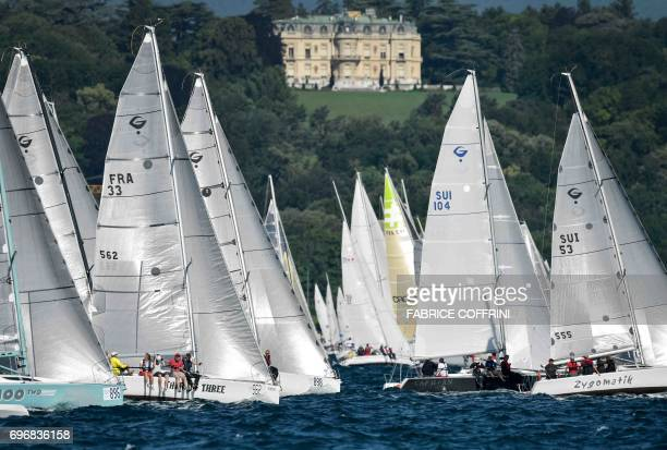 Sailboats take the start of the 79th edition of the Bol d'Or sailing race on Lake Geneva on June 17 2017 About 550 contestants take part in one of...