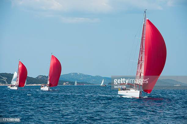 Sailboats with red genackers compeeting during regatta