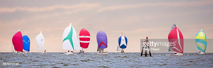 Sailboats with Spinnakers Racing