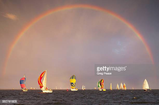 Sailboats with Spinnakers Racing with Rainbow