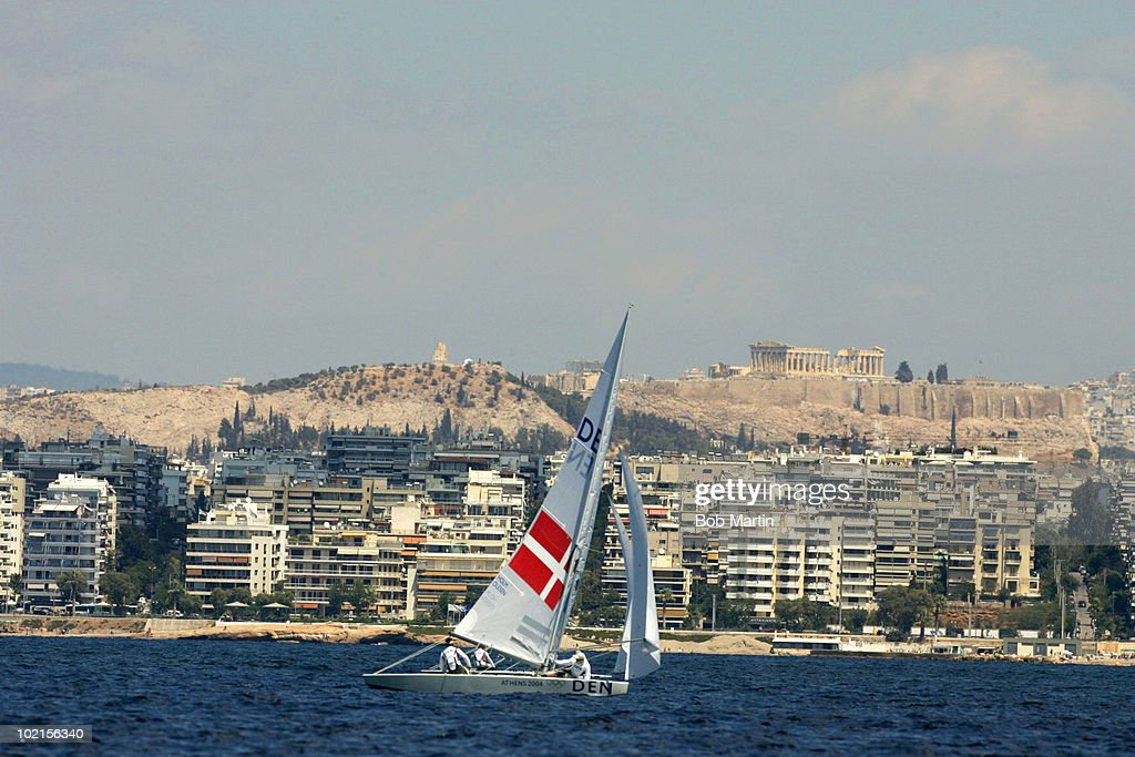 Denmark Nicklas Holm and Claus Olesen in action during Men's Star Class Final at Agios Kosmas Olympic Sailing Centre, Athens, Greece 8/28/2004
