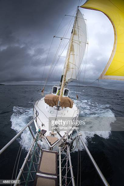 Sailing a yacht in a storm