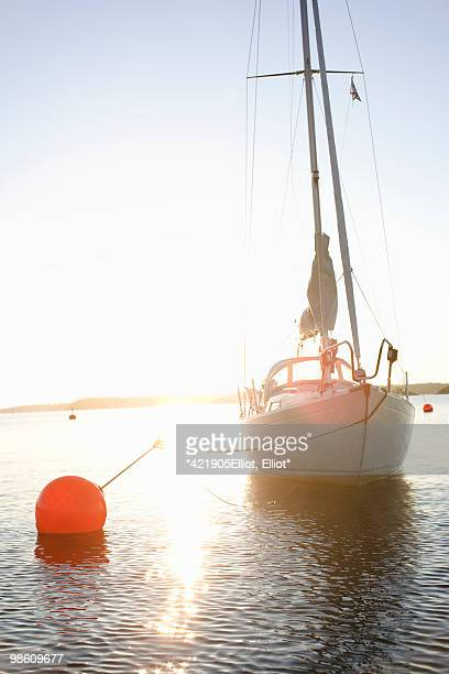 Sailing boat against the sunset, Sweden.