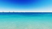 Sailing boat clear blue sea. 3D render
