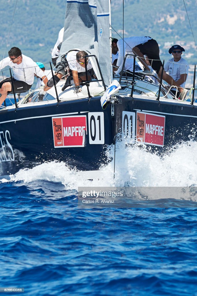 Sailing boat competes during a leg of the 36th Copa del Rey Mapfre Sailing Cup on August 5, 2017 in Palma de Mallorca, Spain.