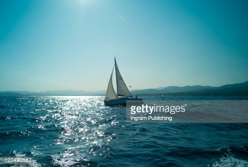 Sailing boat in the Mediterranean in St Maxime, French Riviera : Stock Photo