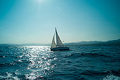 Sailing boat in the Mediterranean in St Maxime, French Riviera