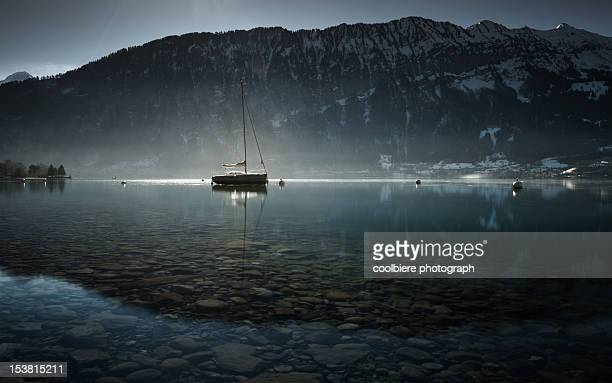 A sailing boat over lake Thun